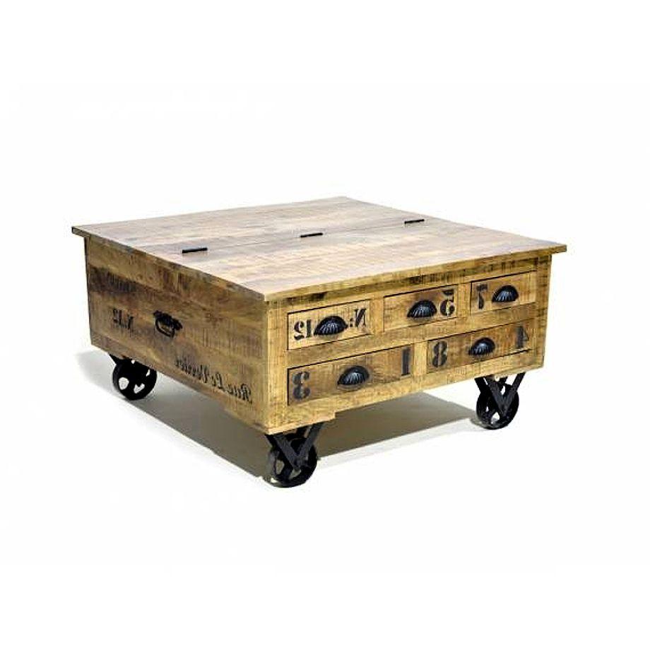 Konferenční stolek - truhla dřevo hnědé