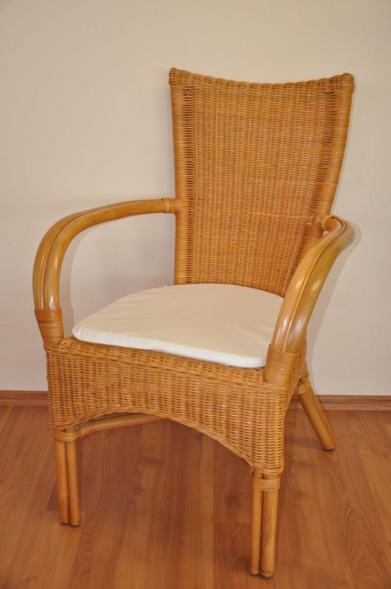 Ratanová židle WANUTA medová bílý polstr