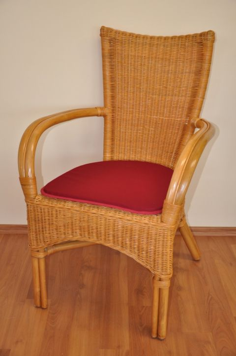 Ratanová židle WANUTA medová vínový polstr