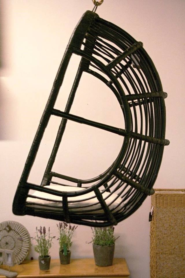 Ratanová houpačka závěsná EVROPA černá bez polstru