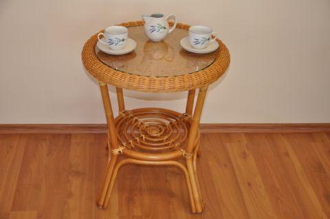 Ratanový stolek FABION medový kulatý