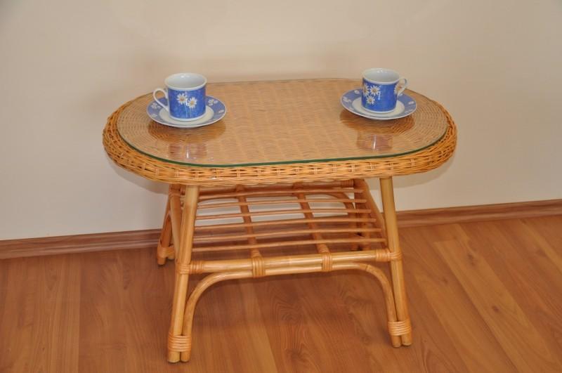 Ratanový stolek FABION oválný medový