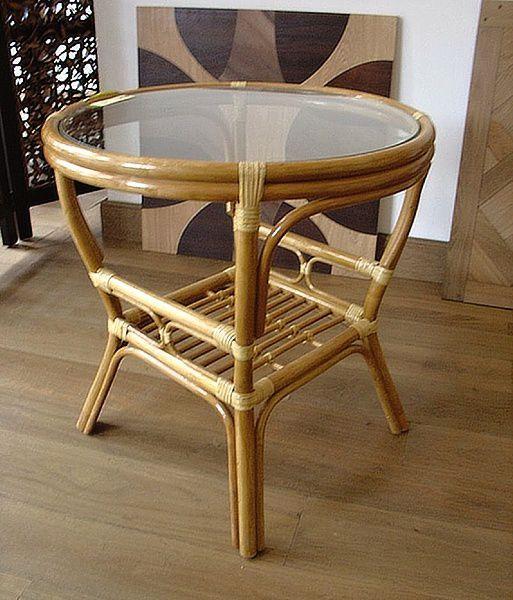 Ratanový stolek PELANGI kulatý sklo