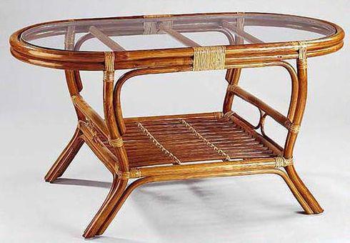 Ratanový stolek PELANGI OVÁL sklo