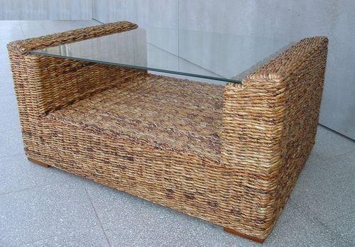 Ratanový stolek TONDANO banán 100x70 cm