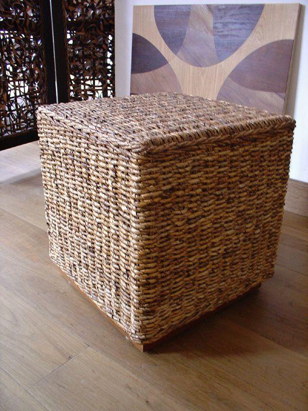 Ratanový stolek TONDANO KUBUS banán 60x60 cm