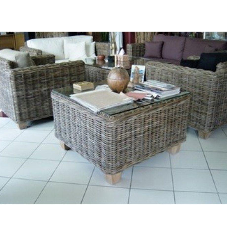 Ratanový stolek TOSCA 80x80 kubu grey
