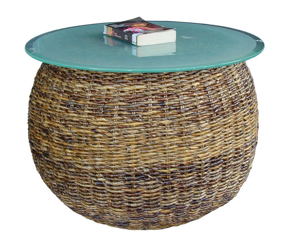 Ratanový stolek LAURA banán bez skla