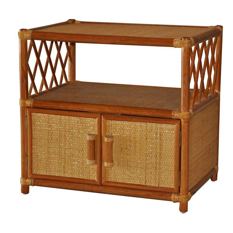 Ratanová TV skříňka - stolek koňak