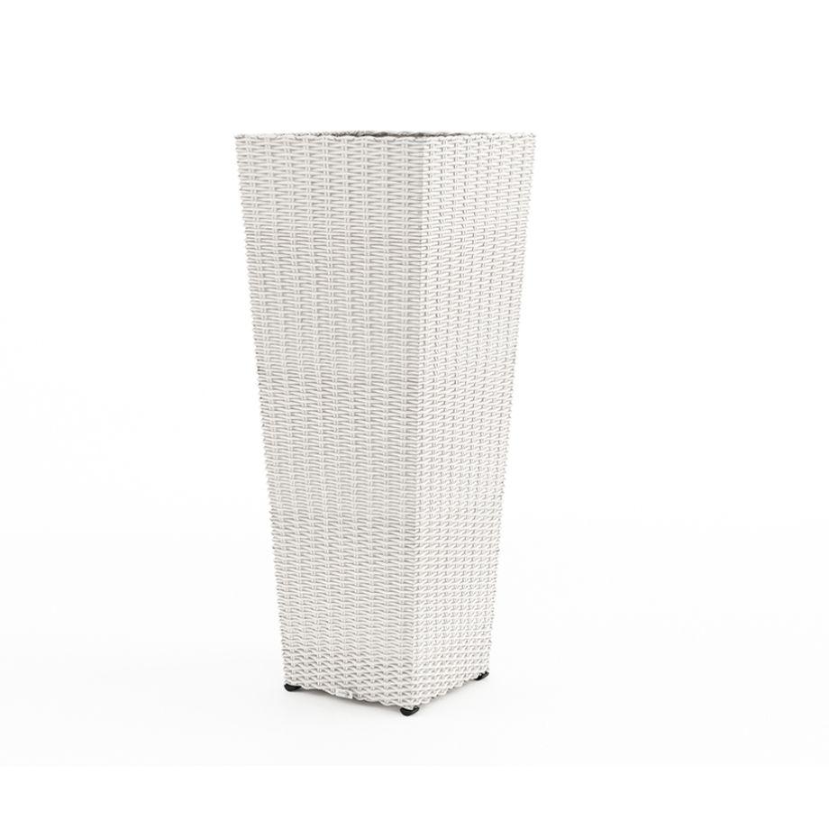 Květináč SCALEO 100 cm umělý ratan bílý