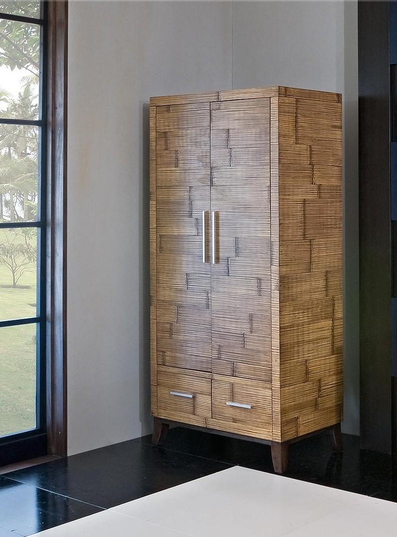 Šatní skříň KEIRA 2 dveřová bambus/dřevo