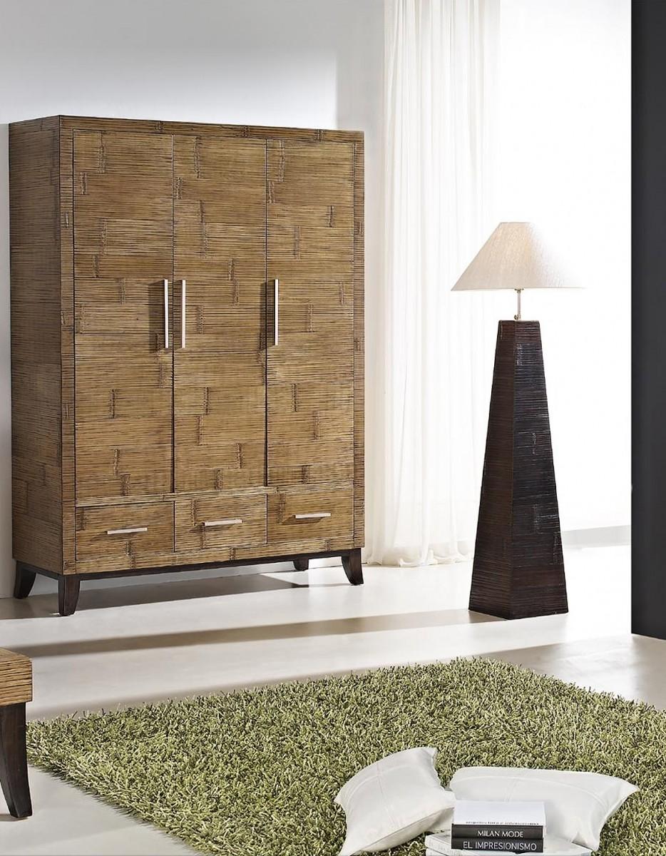 Šatní skříň KEIRA 3 dveřová bambus/dřevo