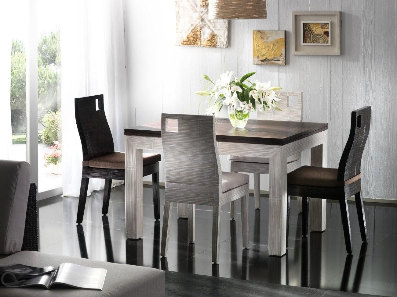 Bambusový jídelní set ESSENTIAL white/black
