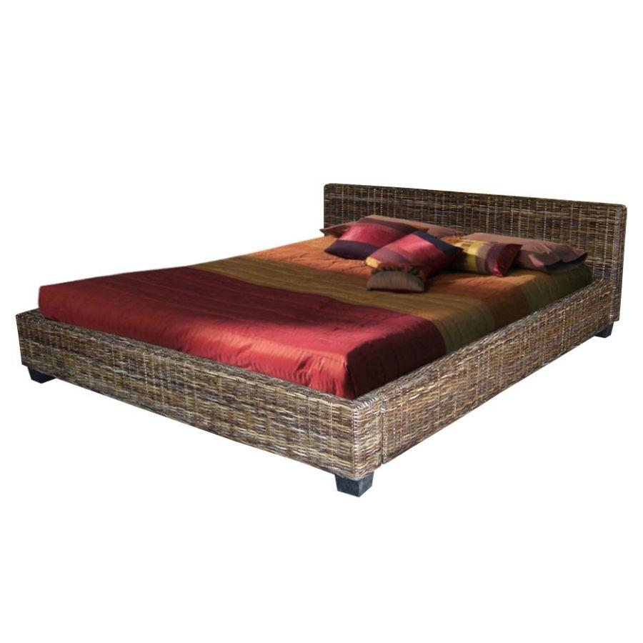 Ratanová postel DIMA 160 černý ratan