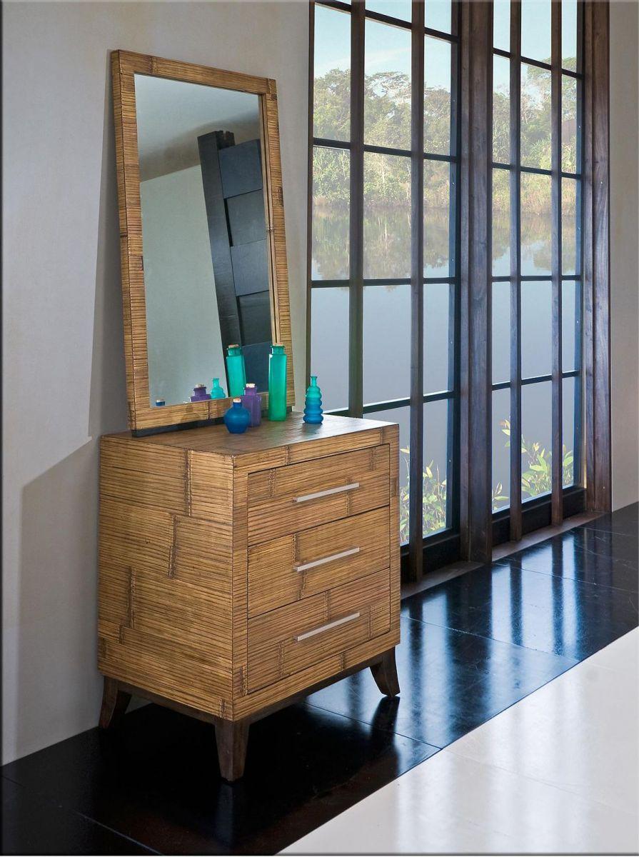 Komoda KEIRA 3D bambus/dřevo