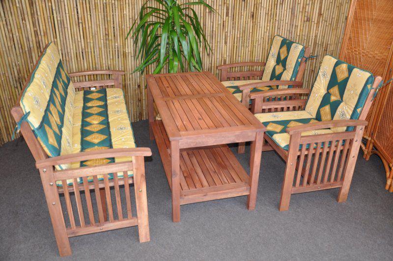 Zahradní nábytek set s lavicí zelené polstry