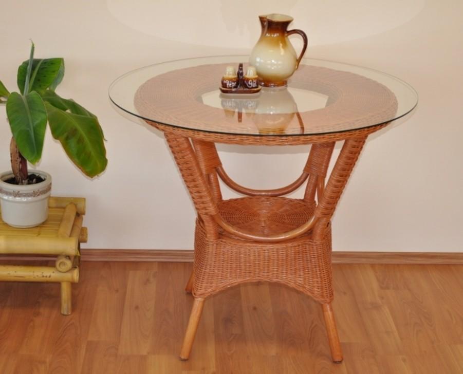 Ratanový jídelní stůl WANUTA koňak