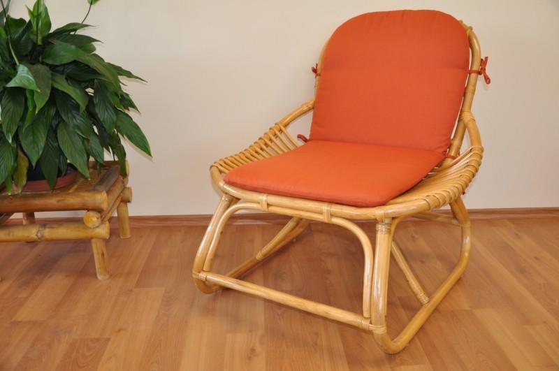 Ratanové křeslo DENPASAR medové polstr oranžový