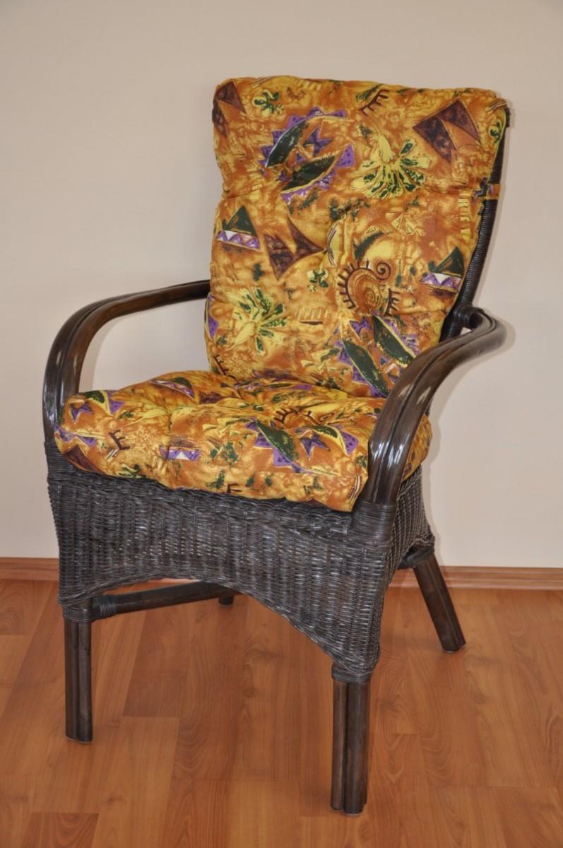 Ratanová židle WANUTA hnědá polstr INDO