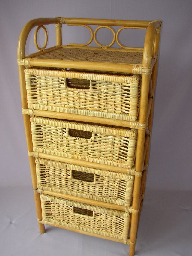 Ratanový PRÁDELNÍK 4 zásuvky medový