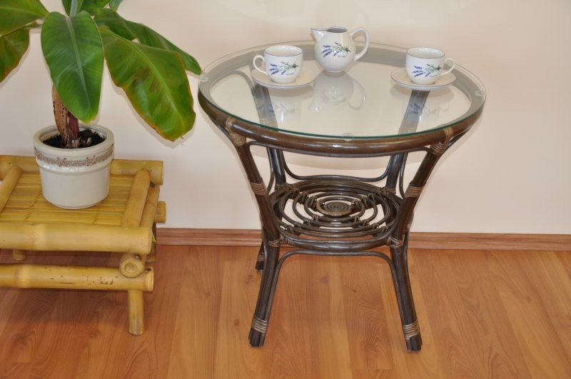 Ratanový stolek BAHAMA HNĚDÝ se sklem