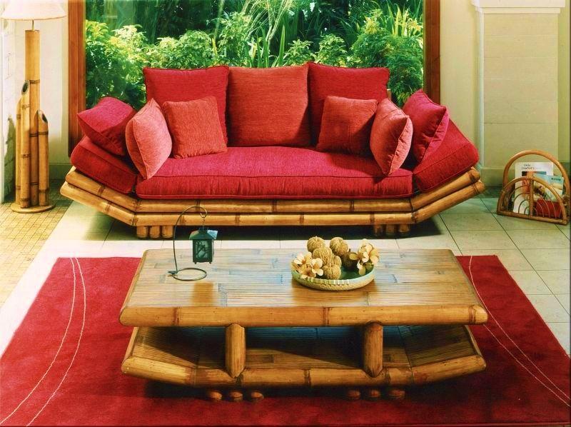 Bambusová pohovka TAO HA trojsed bez stolku