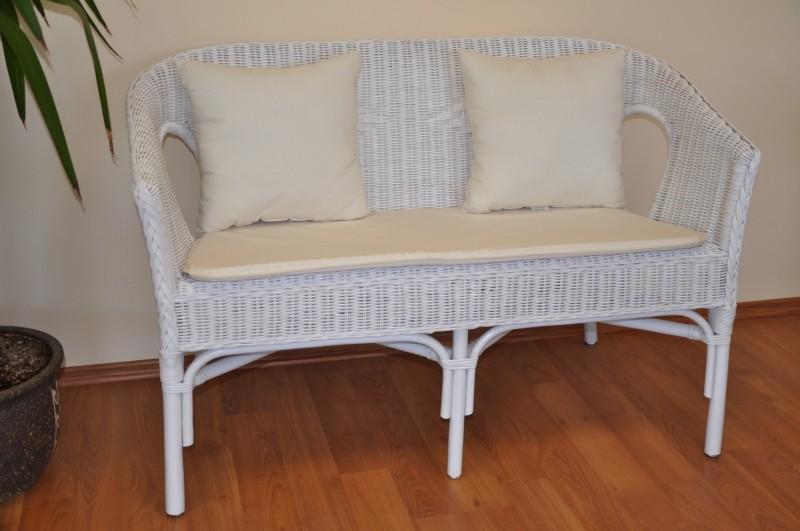 Ratanová lavice FABION bílá polstry bílé