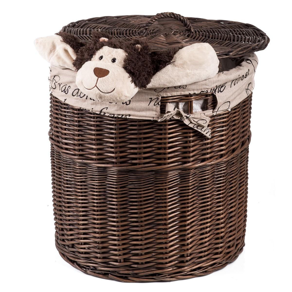Proutěný kulatý koš na prádlo PORTO hnědý s látkou