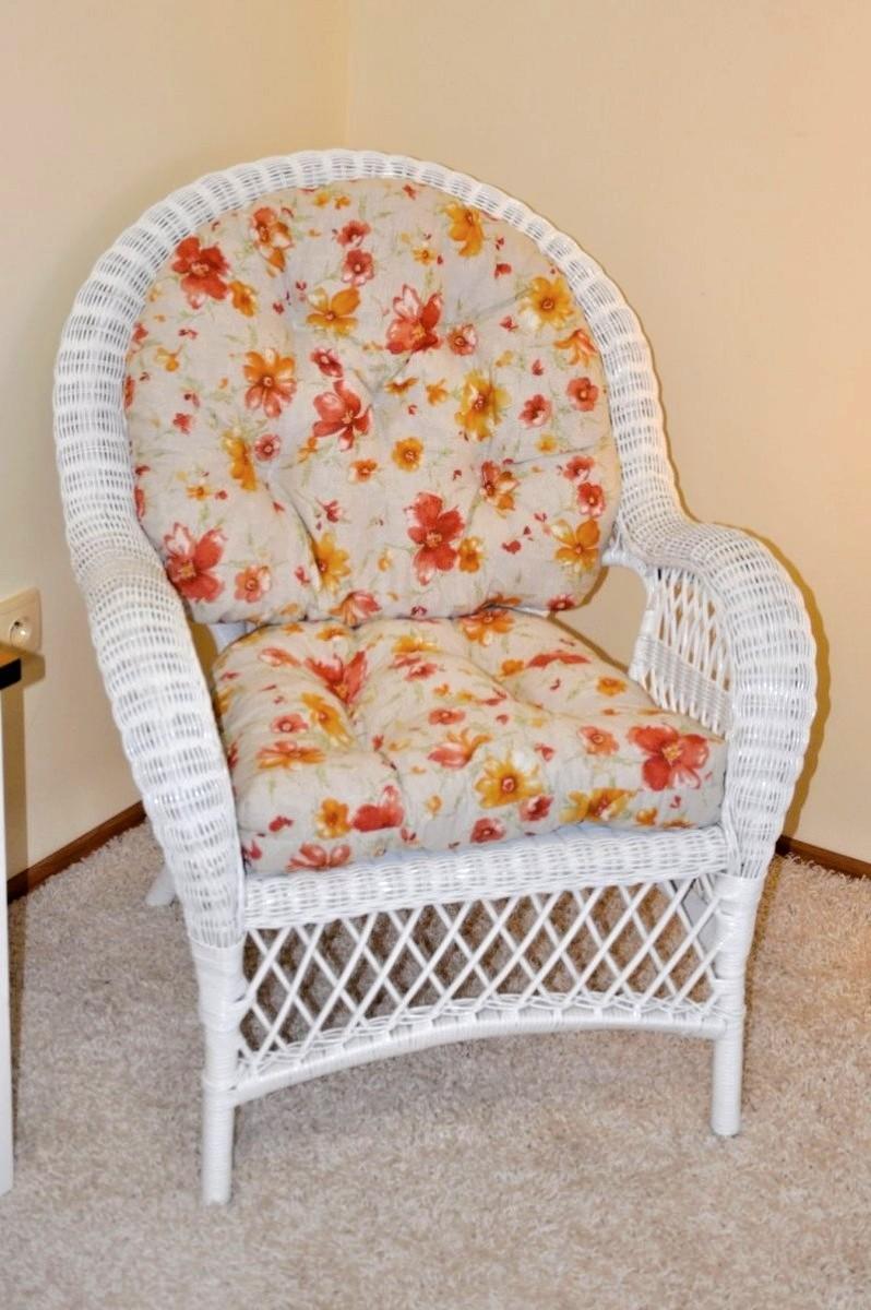 Ratanové křeslo FLORIDA bílé polstr květiny