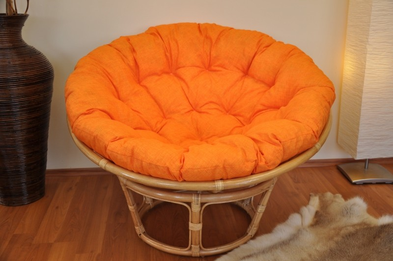 Ratanový PAPASAN 110 cm medový oranžový melír