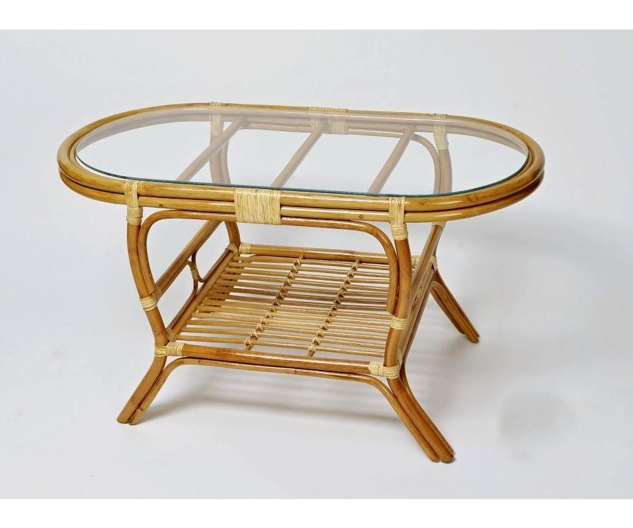 Ratanový stolek PELANGI OVÁL LH sklo