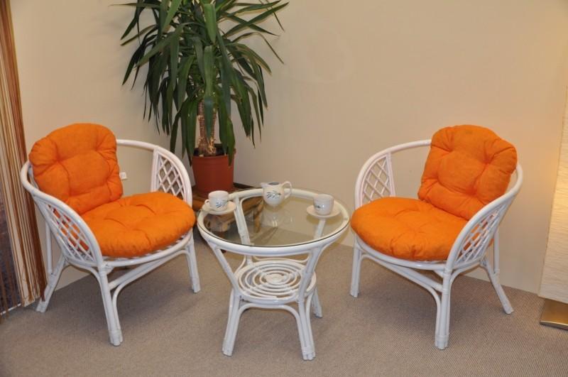 Ratanový set BAHAMA 2+1 bílý polstry oranžový melír
