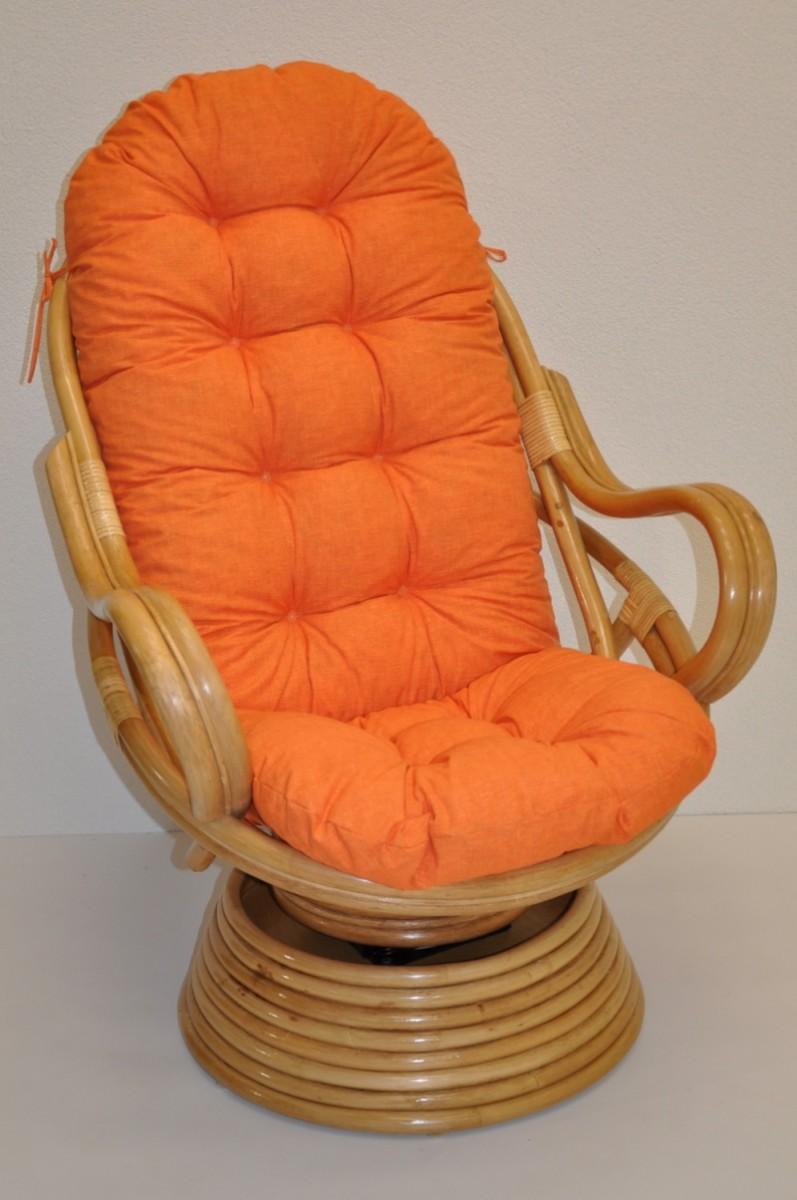Ratanové houpací křeslo SWIVEL medové  oranžový melír