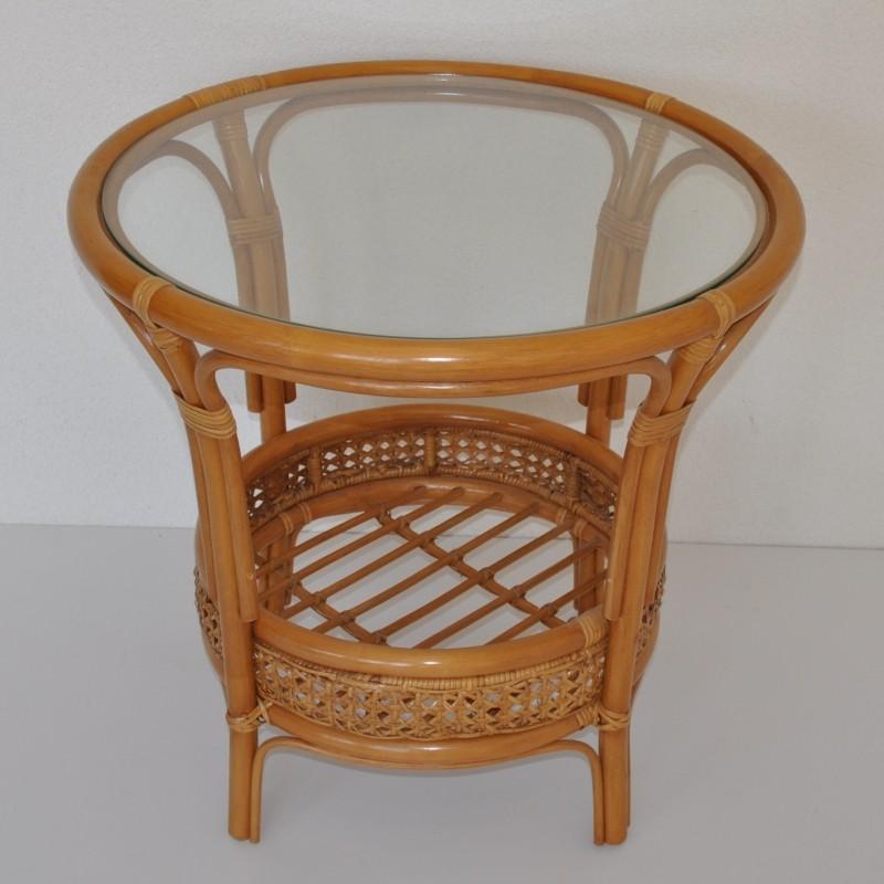 Ratanový stolek KINA kulatý medový
